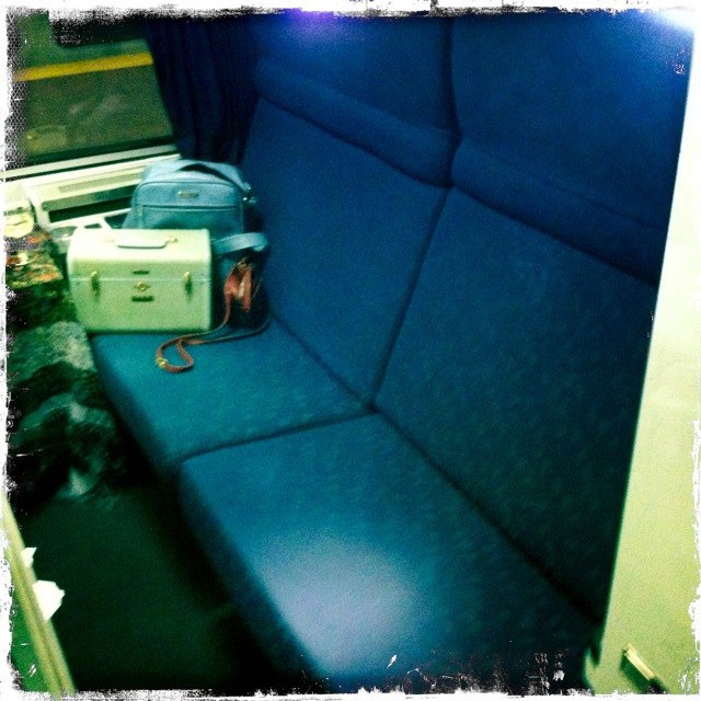 My sofa/fold-down full-sized bed on the Lake Shore Limited.