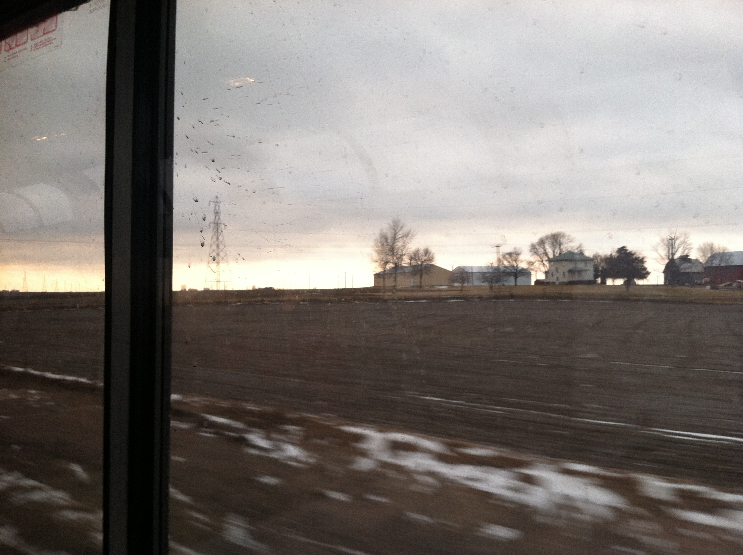 View from the dining car as the sun was setting.