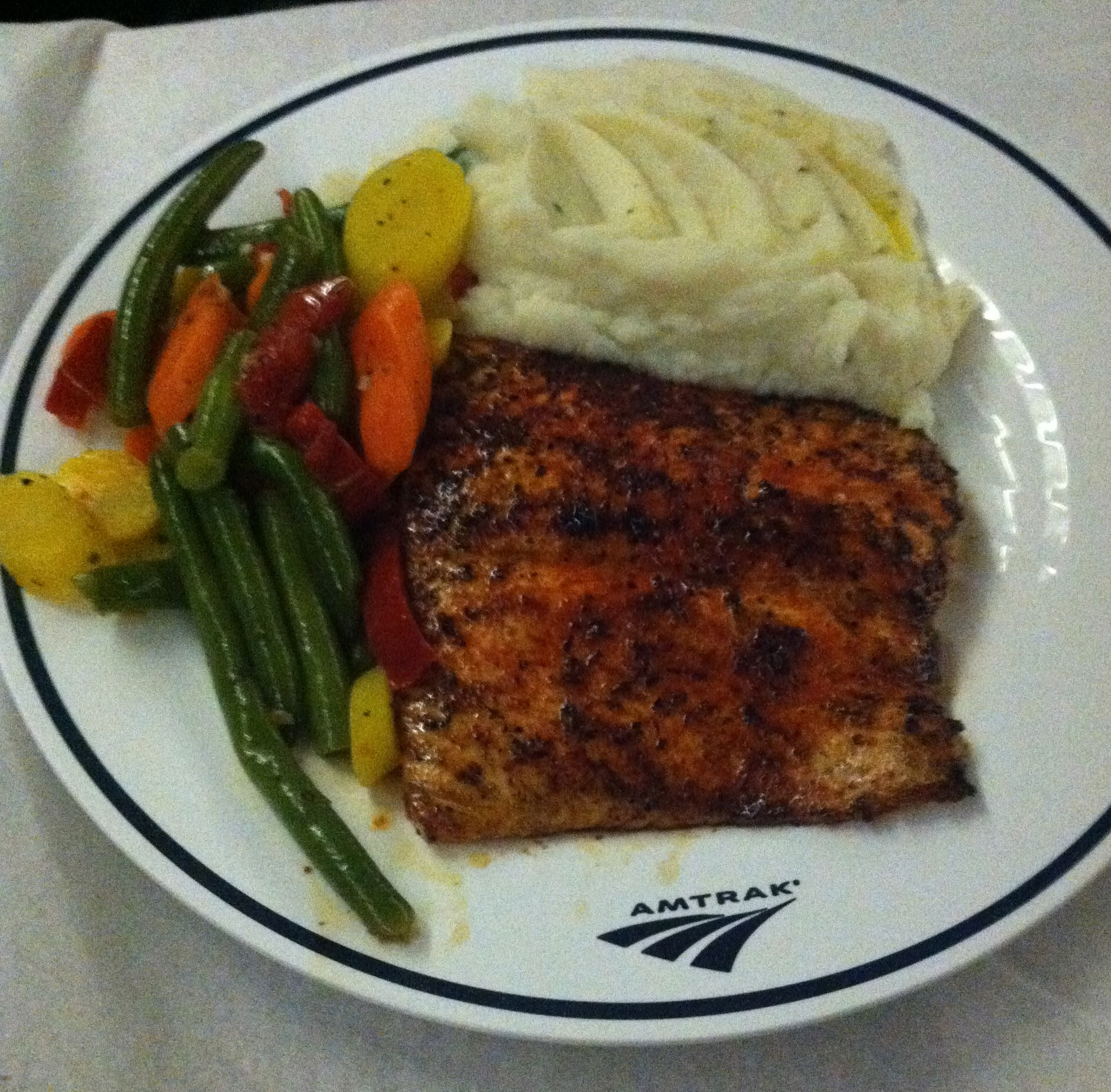 The salmon on the California Zephyr.