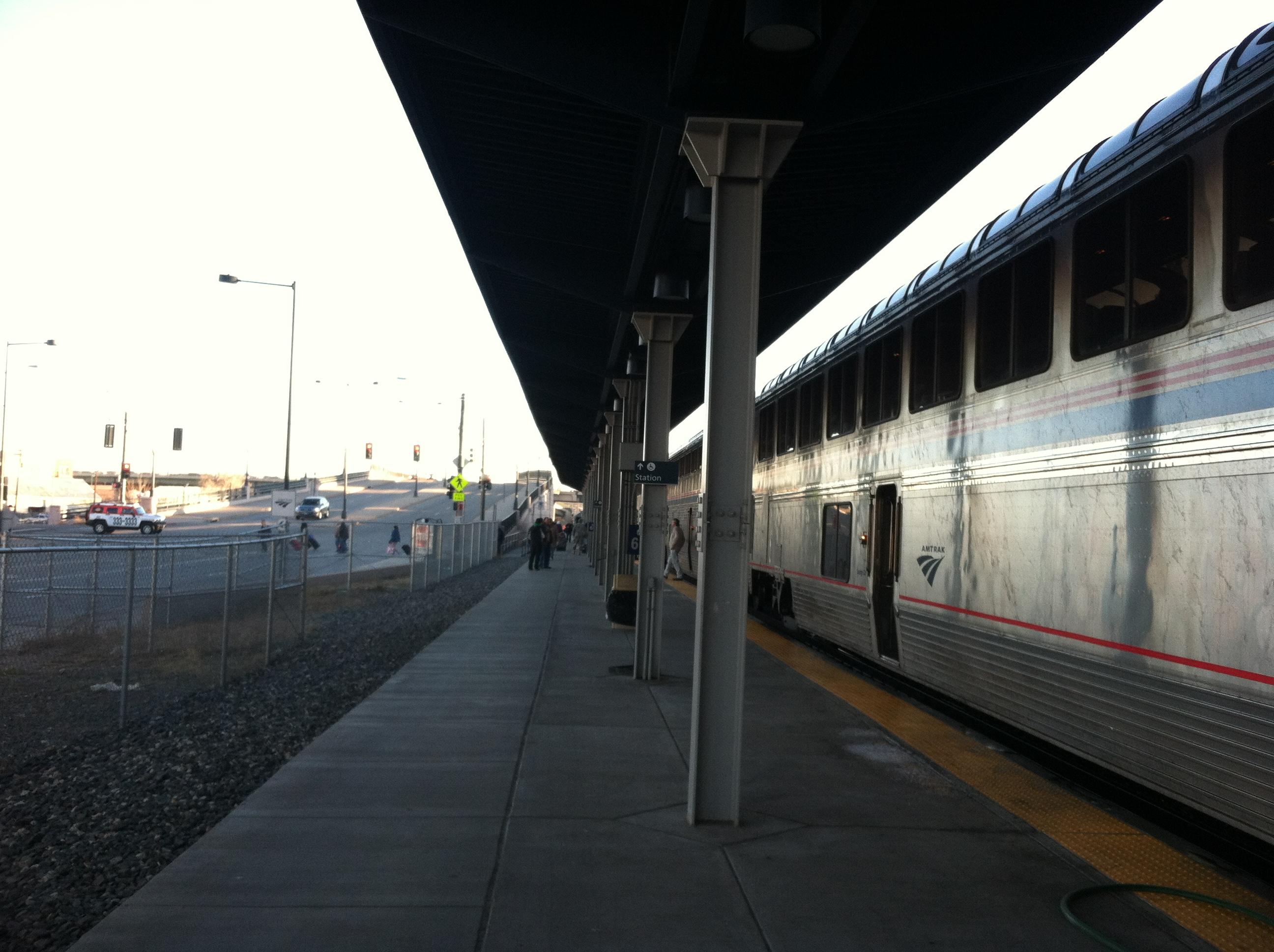 The temporary Amtrak station in Denver.